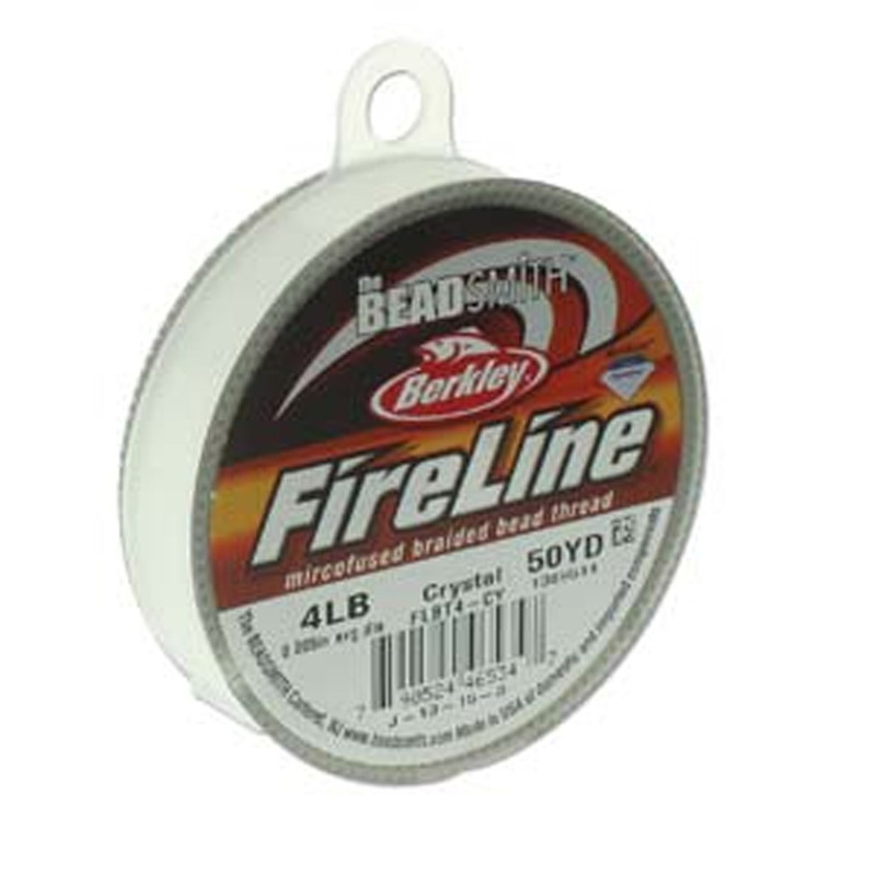 "4lb BeadSmith Burkley FireLine Braided Bead Thread .005"" .12mm Crystal FL04CR50"