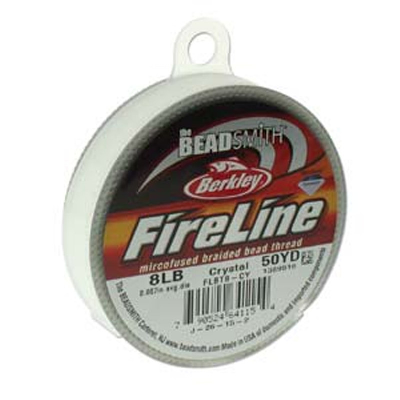 "8lb BeadSmith Burkley FireLine Braided Bead Thread .007"" .17mm Crystal FL08CR50"