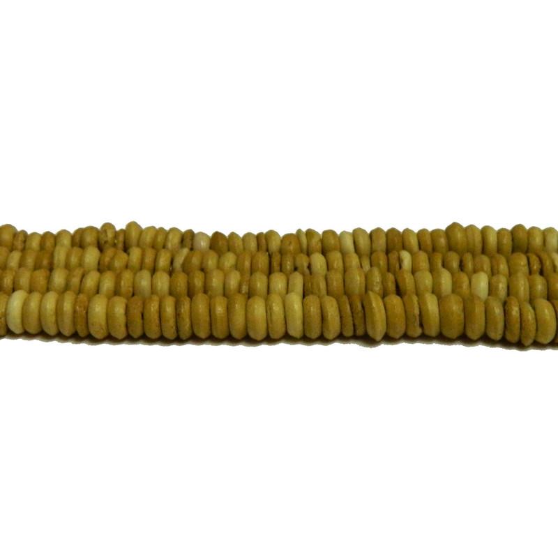 "6x2.5mm Natural Hand Carved Bone Heishi Beads 3mm Hole 15"" Strand BA-28957-NATURAL"