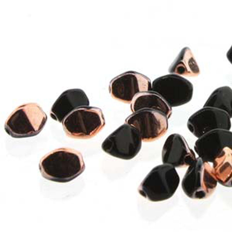 Pinch Czech Glass Beads 5mm Jet Capri Gold 50 Beads Loose Strand