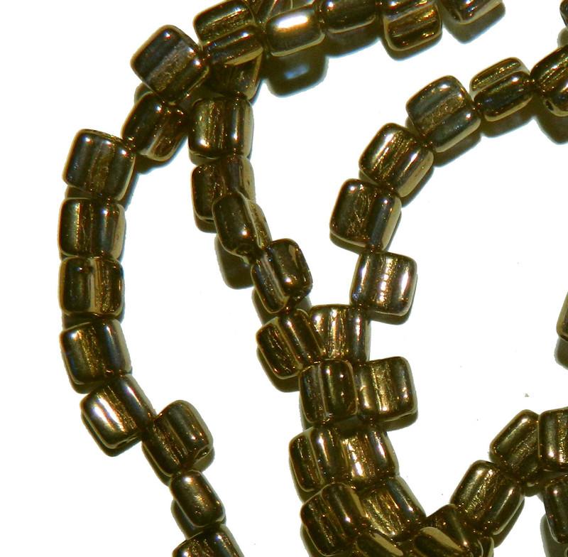 Groovy 6mm Czchmate Glass Czech Two Hole Crystal Bronze 40 Beads GRV0600030-90215