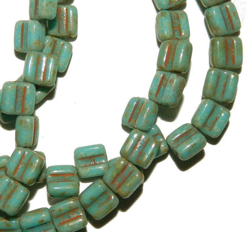 Groovy 6mm Czchmate Glass Czech Two Hole Bl Turquoise Picasso 40 Beads GRV0663030-43400
