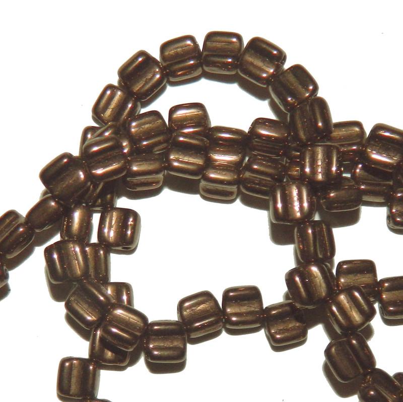 Groovy 6mm Czchmate Glass Czech Two Hole Black Dk Bronze 40 Beads GRV0623980-14415