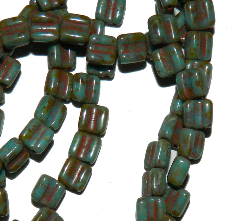 Groovy 6mm Czchmate Glass Czech Two Hole Bl Turquoise Dk Travertine 40 Beads GRV0663030-86805