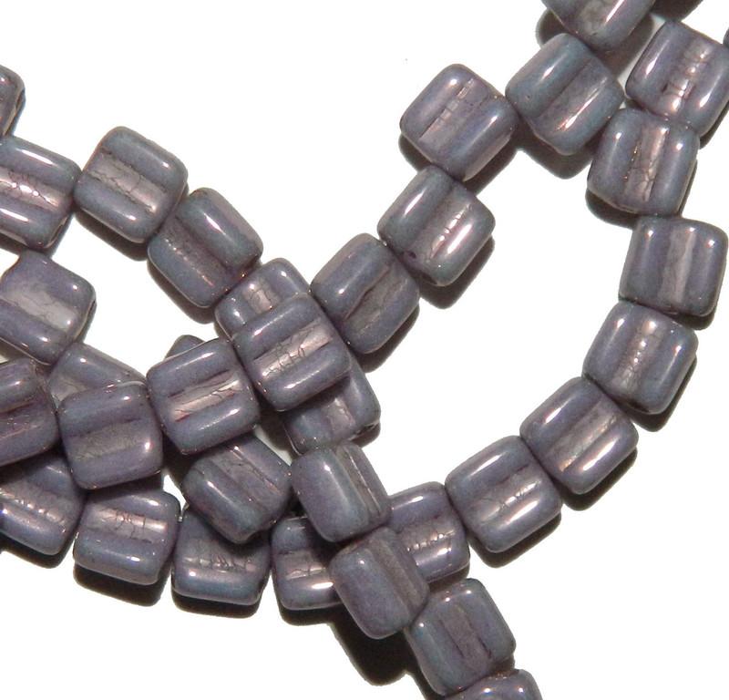 Groovy 6mm Czchmate Glass Czech Two Hole Chalk Purple Vega 40 Beads GRV0602010-15726