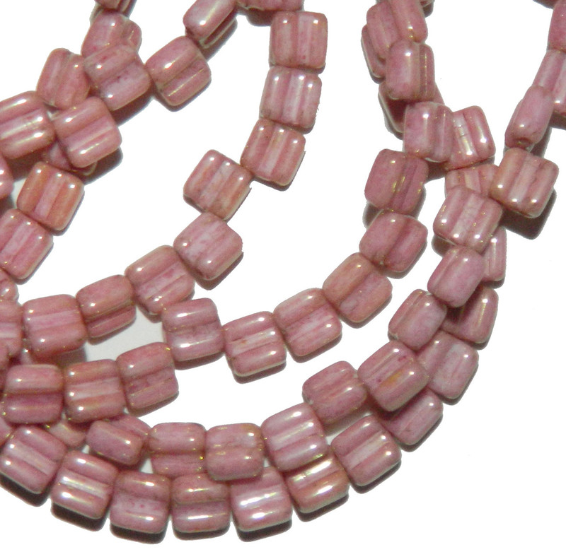 Groovy 6mm Czchmate Glass Czech Two Hole Chalk Red Luster 40 Beads GRV0603000-14495
