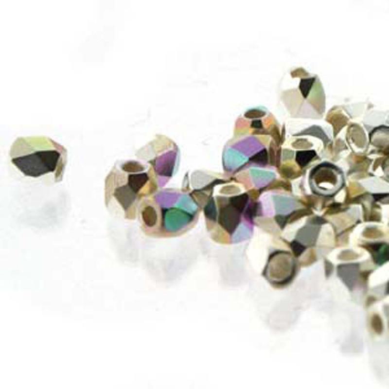 Fire Polish True2s 2mm Czech Glass 999 Fine Silver Plate Ab 2 Grams 180 beads