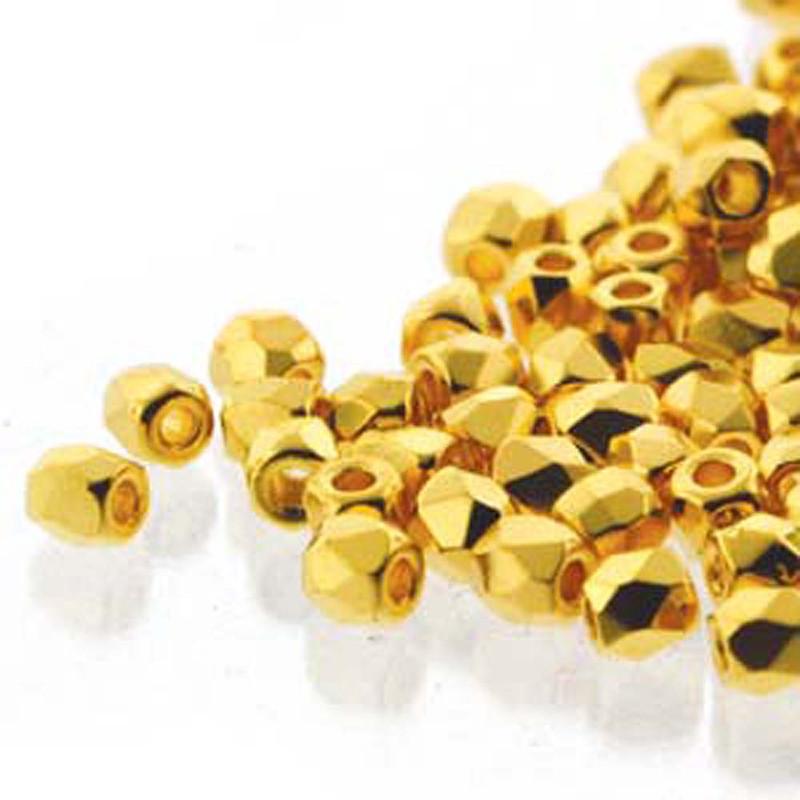 Fire Polish True2s 2mm Czech Glass Crys 24K Gold Plate 600 Beads