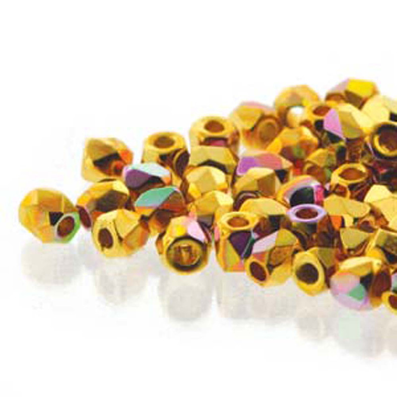 Fire Polish True2s 2mm Czech Glass Crys 24K Gold Plate Ab 600 Beads