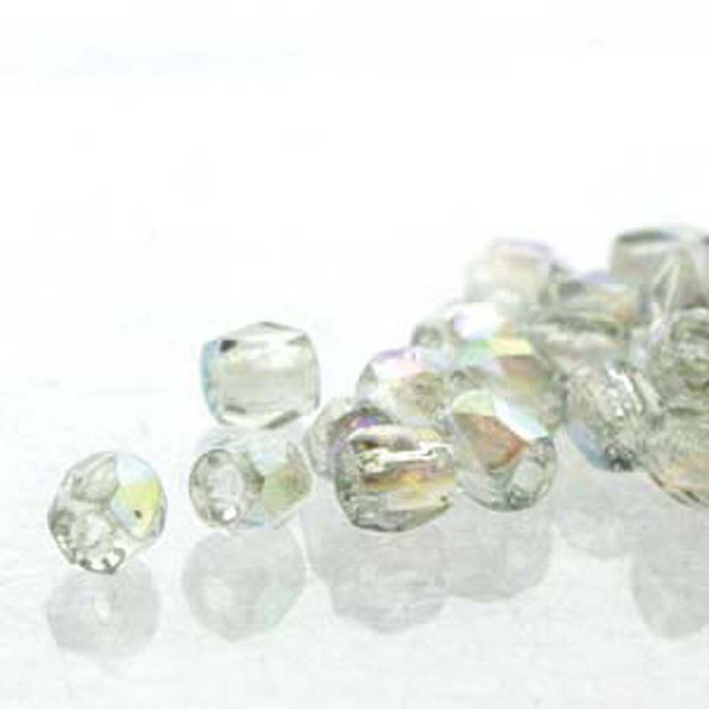 Fire Polish True2s 2mm Czech Glass Crys Blue Rnbw- 600 Beads-Loose