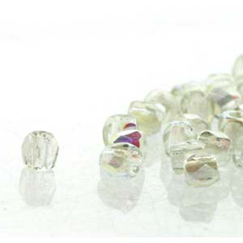 Fire Polish True2s 2mm Czech Glass Crys Green Rnbw- 600 Beads-Loose