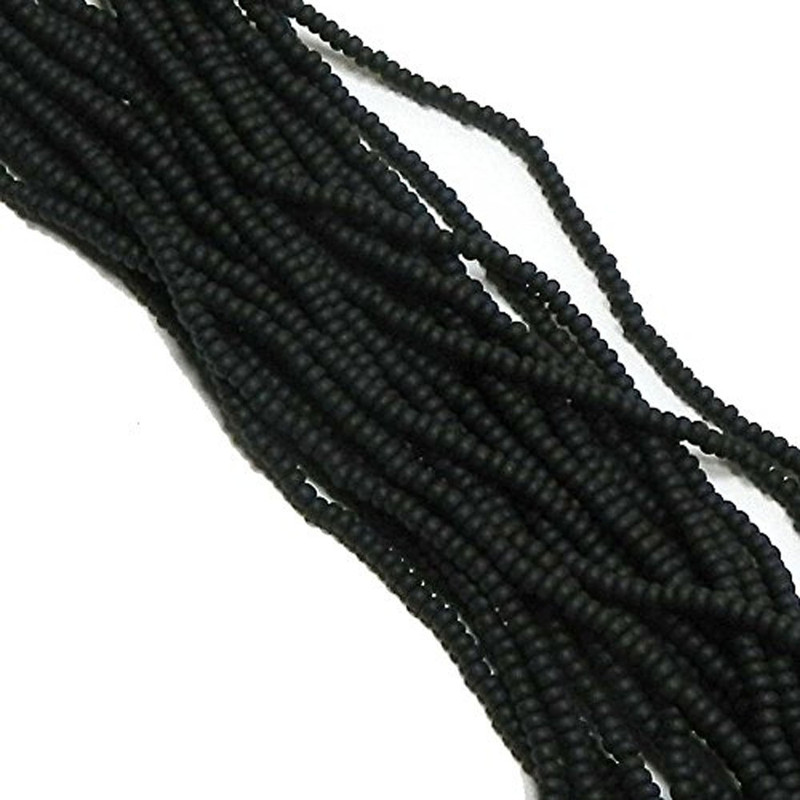 Black Matte Opaque Czech 8/0 Glass Seed Beads 12 Strand Hank Preciosa