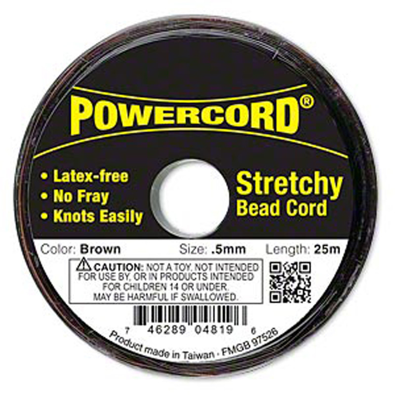 Powercord® Elastic Stretch Cord Brown 0.5mm 4-lb Test 25-Meter Latex-Free H20-1694BS