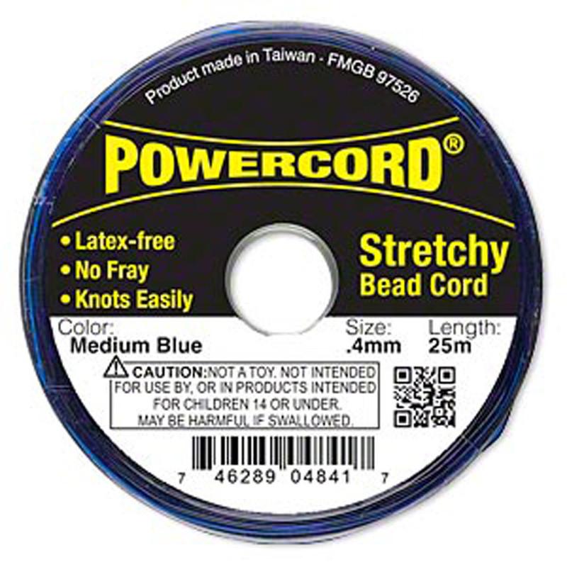 Powercord® Elastic Stretch Cord Blue 0.4mm 3.5-lb Test 25-Meter Latex-Free H20-3296BS