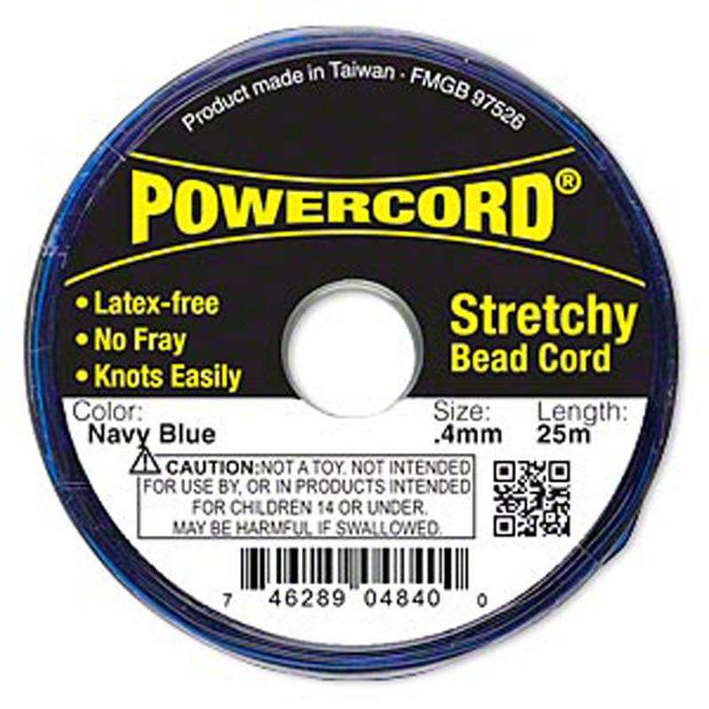 Powercord® Elastic Stretch Cord Navy Blue 0.4mm 3.5-lb Test 25-Meter Latex-Free H20-3295BS