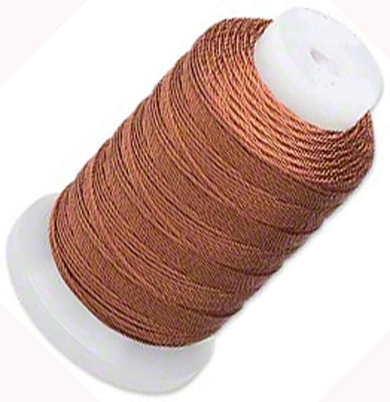 Silk Beading Thread Cord Size E Brown 0.0128 Inch 0.325mm Spool 200 Yd 5187BS