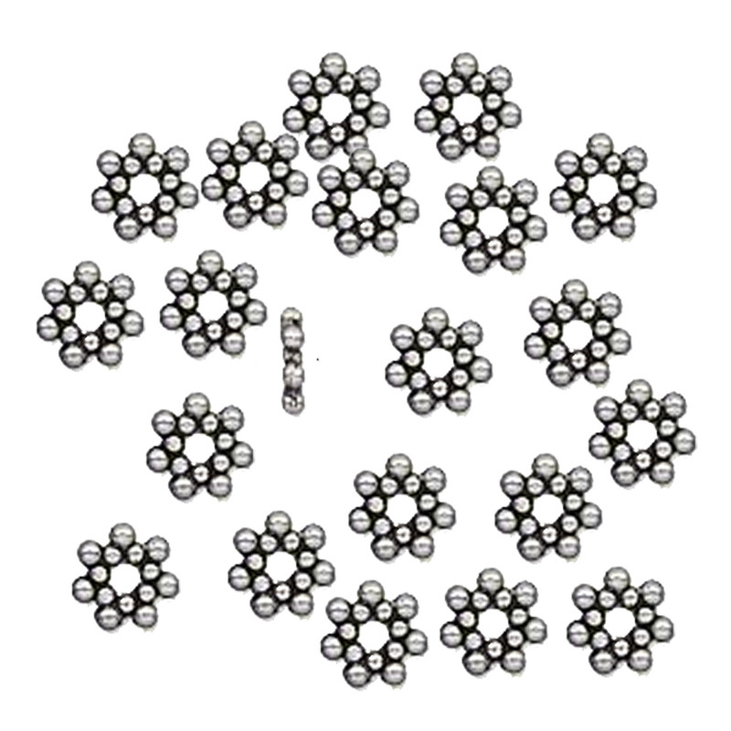 100 6x1.4mm Flower Rondelle Daisy Beads Antiqued Silver Cast Pewter Metal Beads 1654BB