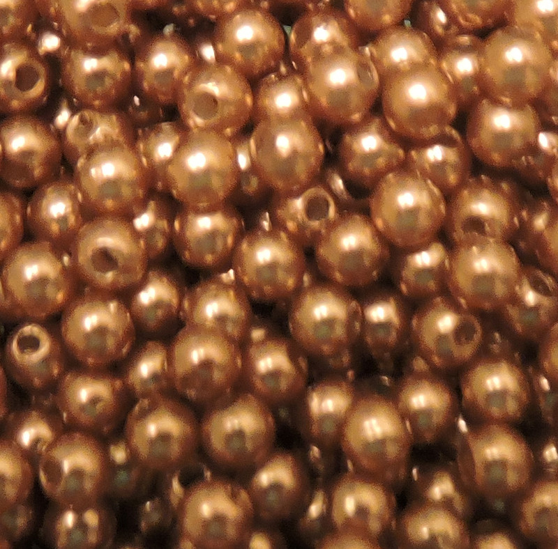 Brown 4mm Acrylic Round Beads Pearl Coated bags approx 500 beads G104C