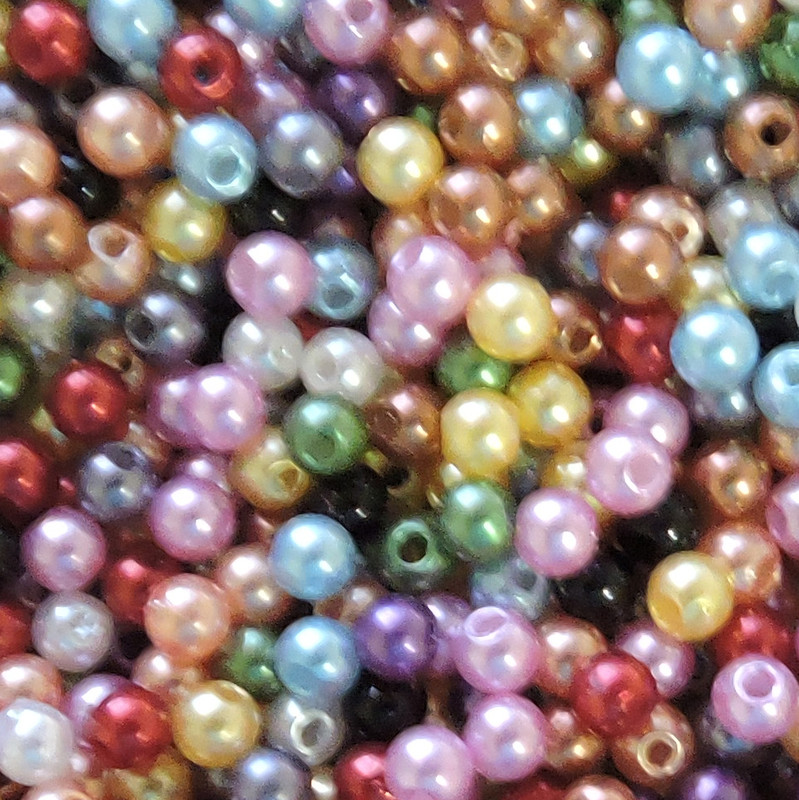 Randum Mix 4mm Acrylic Round Beads Pearl Coated bags approx 500 beads G104X