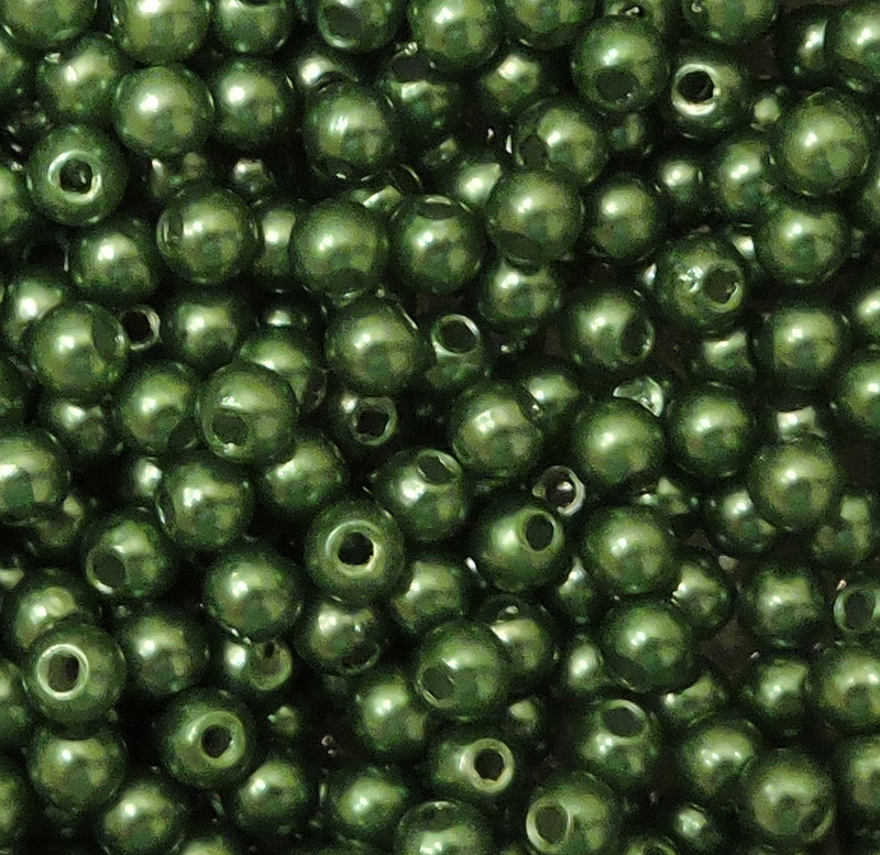 Green 6mm Acrylic Round Beads Pearl Coated bags approx 180 beads G106G