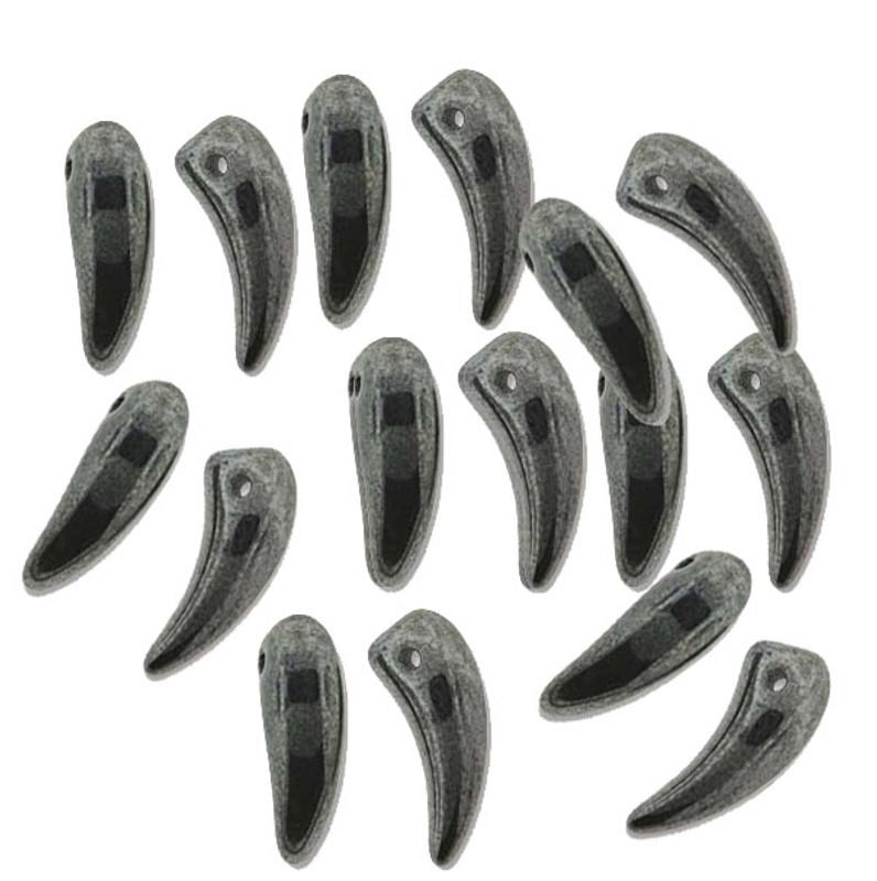 Jet Hemitite Tooth Glass Czech Beads 6x16mm 22 Piece Strand TTH61623980-14400