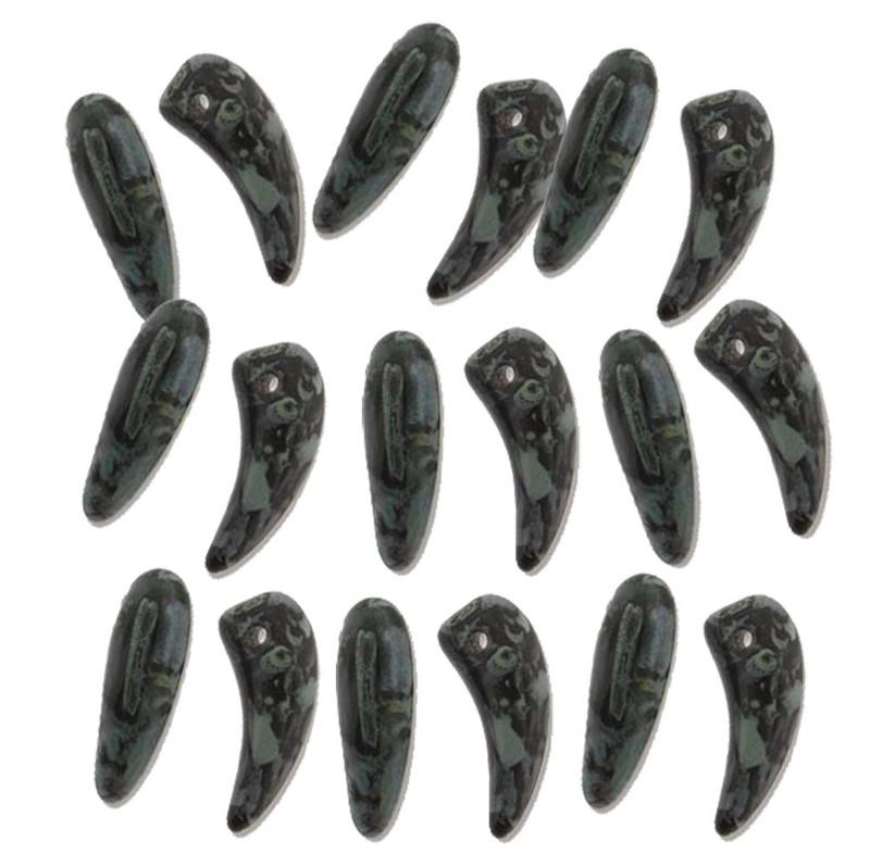 Jet Pisasso Tooth Glass Czech Beads 6x16mm 22 Piece Strand TTH61623980-86800