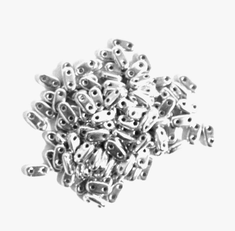 Silver Seed Bead Bar Czech Glass CzechMate Beads 9.5 grams 6x3mm 2mm Thick BAR26-S00030