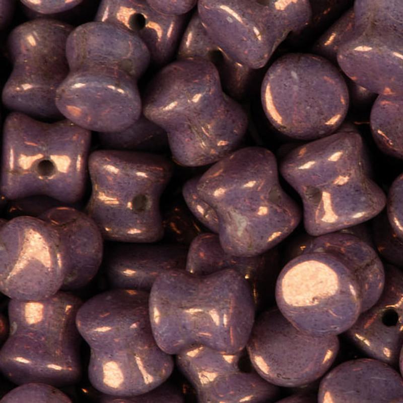 Purple Chalk White Vega Czech Glass 4x6mm Pellet 30 Beads PLT46-03000-15726