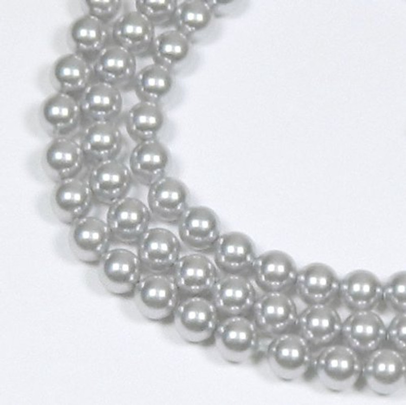 "100 Swarovski Crystal Pearls 4mm Round Beads 5810. 16"" Loose Strand Light Grey 581004GRYLT"