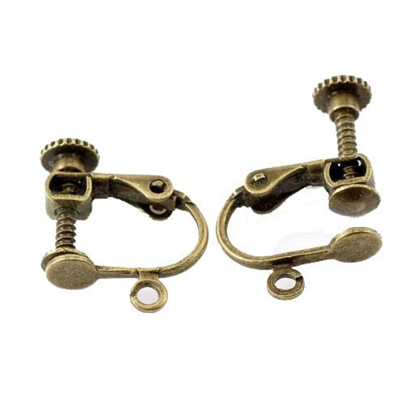 """2 Pairs Antique Brass Gold Clip on Screw Earring Findings Open Loop 17x14mm 5/8"""" X 4/8"""" AC-B21657"""