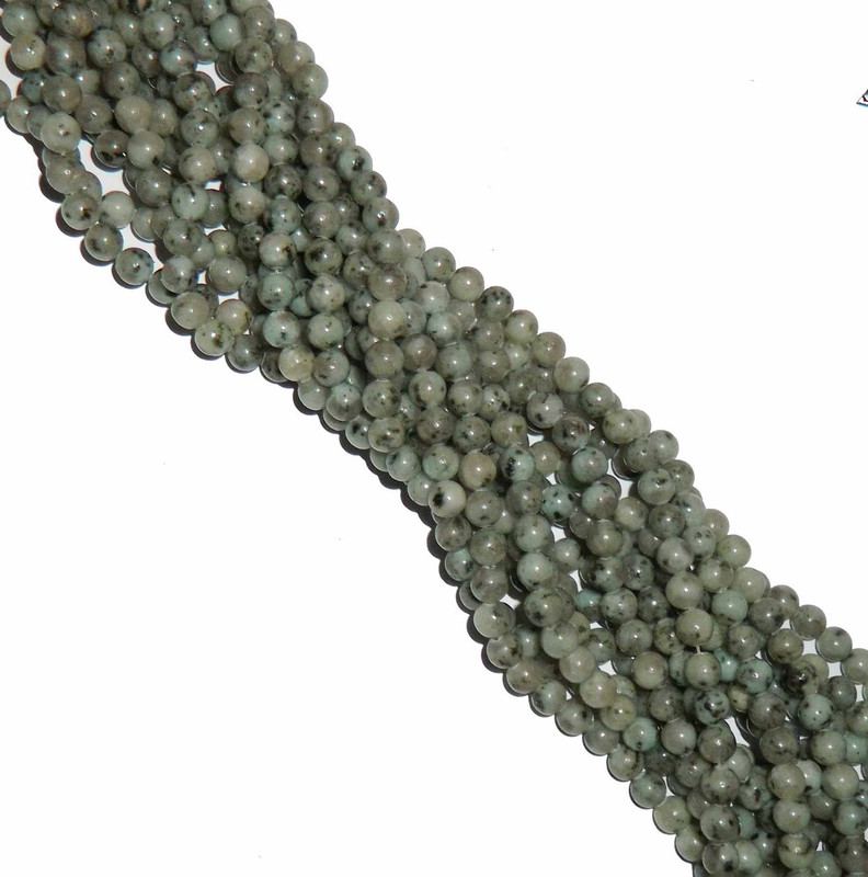 6mm Kiwi Sesame Jasper Natural Gemstone Round Beads 15 inch loose Strand B2-6A19