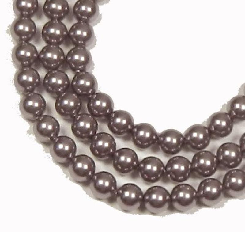 "100 Swarovski Crystal Pearls 4mm Round Beads 5810. 16"" Loose Strand Mauve 581004MAU"