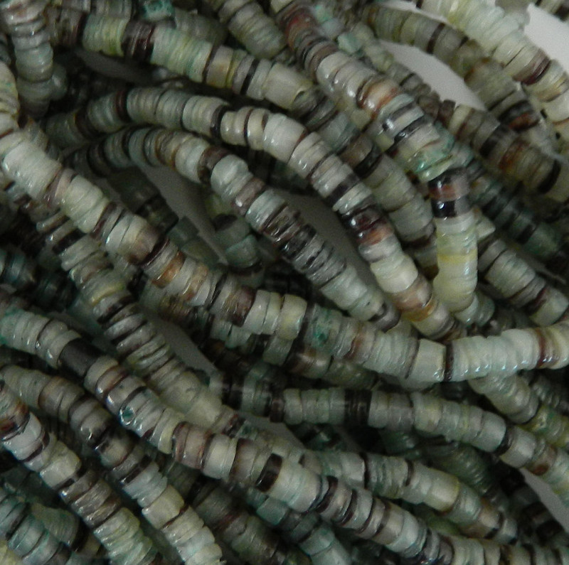4-5mm Mother of Pearl Beads 24 Inch Loose Strand  Green Hammer Shell Heishi PH-BFJ011HS