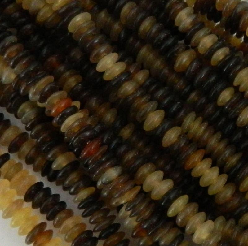 "6mm Genuine Natural Horn Rondelles Beads Aprx 15"" Loose Strand PH-BFJ003BN"