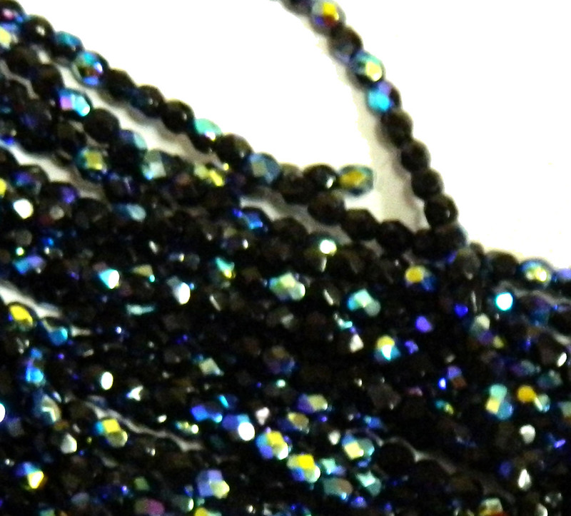 48 Firepolish Faceted Czech Glass Beads  4mm AB Jet
