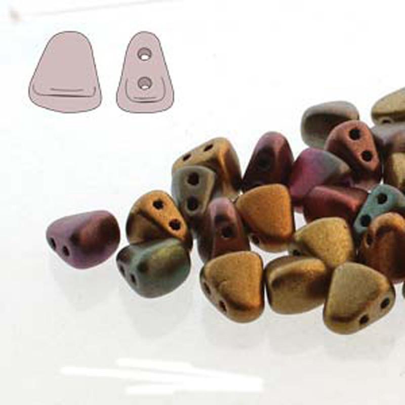 Nib-Bit 6x5mm Dk Gold Rainbow 30 Czech Glass 2 hole Beads NB6500030-01620