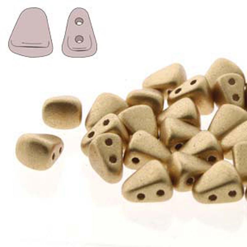 Nib-Bit 6x5mm Bronze Pale Gold 30 Czech Glass 2 hole Beads NB6500030-01710