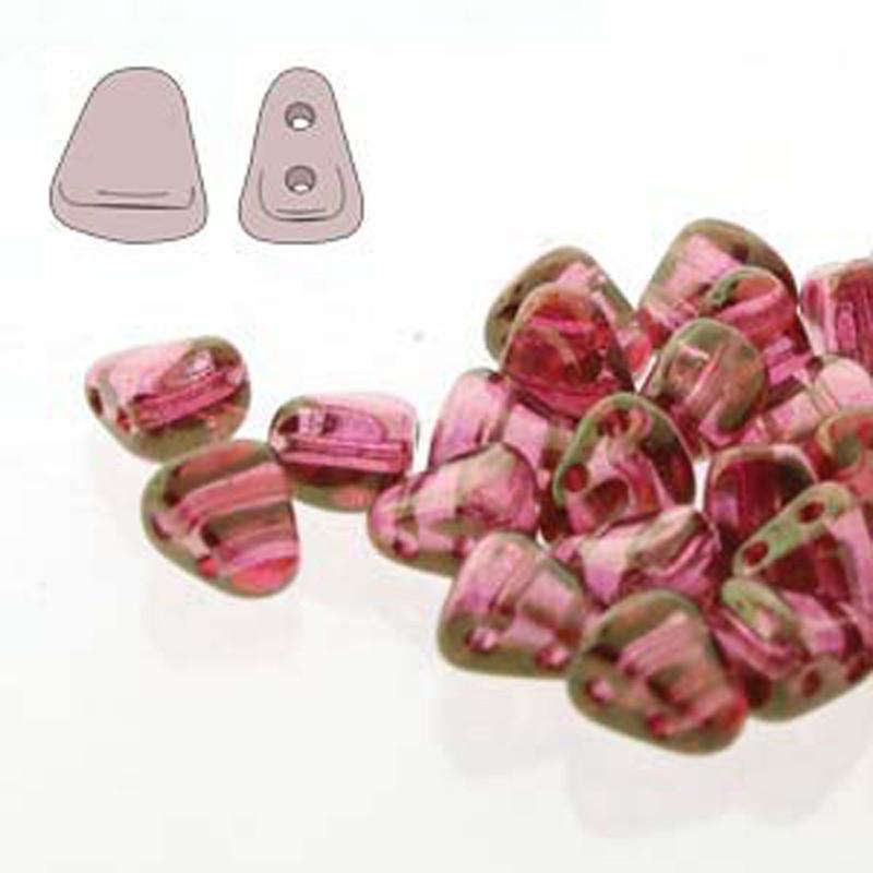 Nib-Bit 6x5mm Crystal Red Luster 30 Czech Glass 2 hole Beads NB6500030-14495