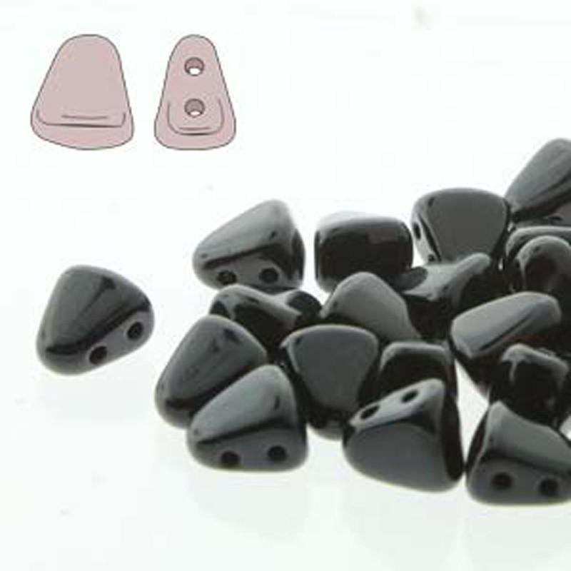 Nib-Bit 6x5mm Jet 30 Czech Glass 2 hole Beads NB6523980