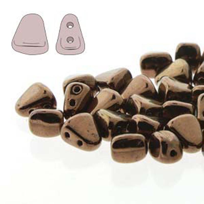Nib-Bit 6x5mm Dk Bronze 30 Czech Glass 2 hole Beads NB6523980-14415