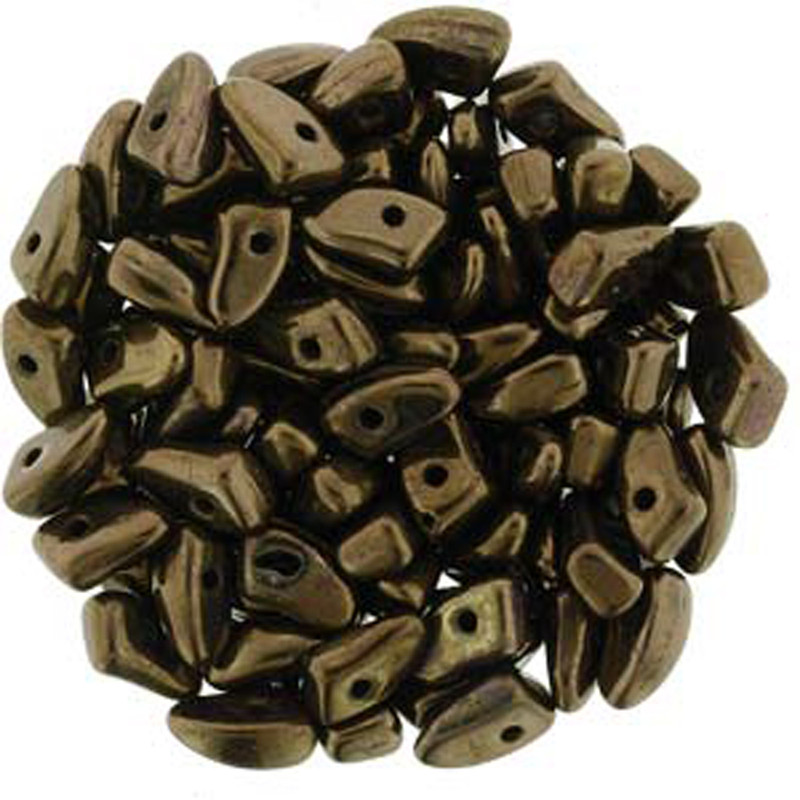 Czechmates Prong  30 glass beads 3x6mm Dk Bronze