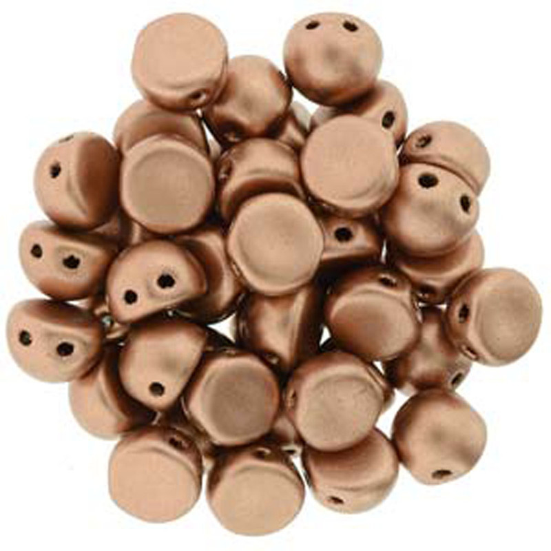 2 Hole Cabochon 7mm Matte Met Copper 20 Glass Beads