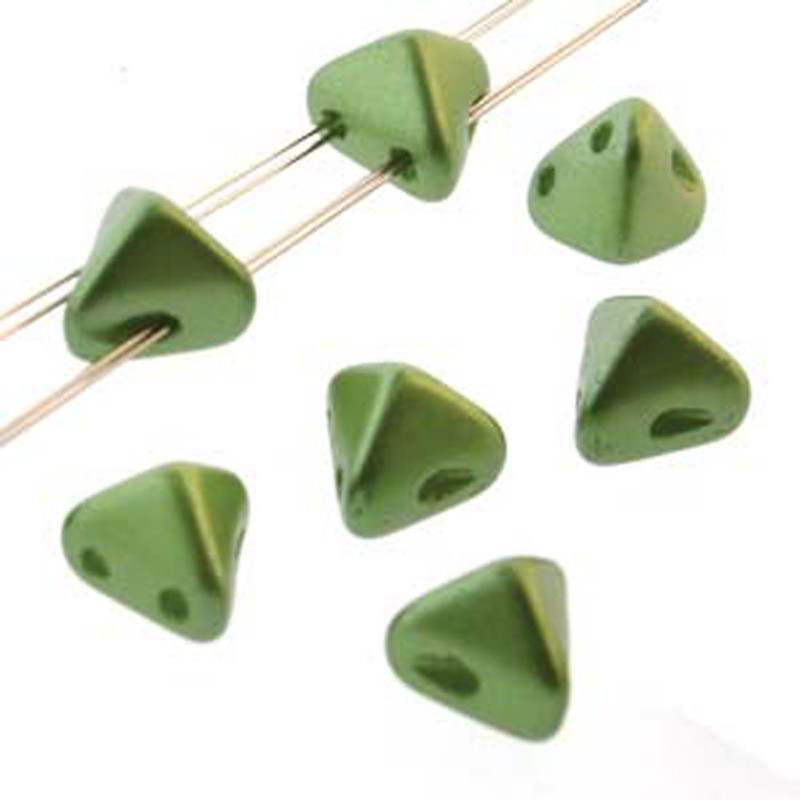2 Hole Super Kheops 6mm Pastel Olivine 30 Czech Pressed Glass Beads