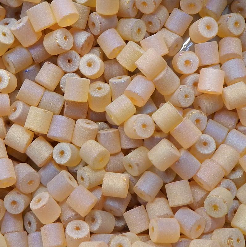 Tan AB Druzy Loose Glass Beads 7x8mm Barrel 24 Gram Pack