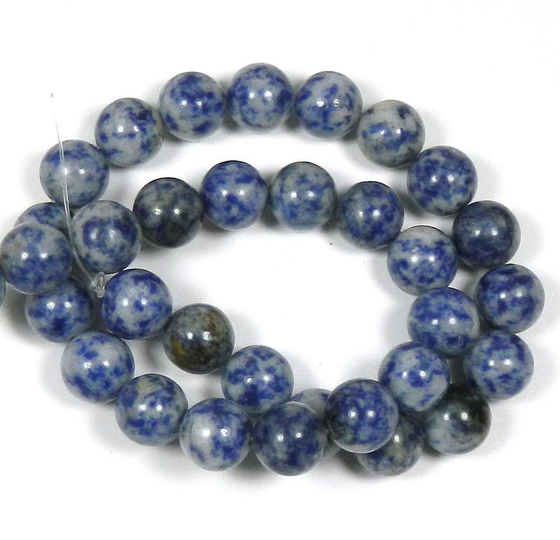 "12mm Denim Lapis Round Beads 40cm 15"" Stone"