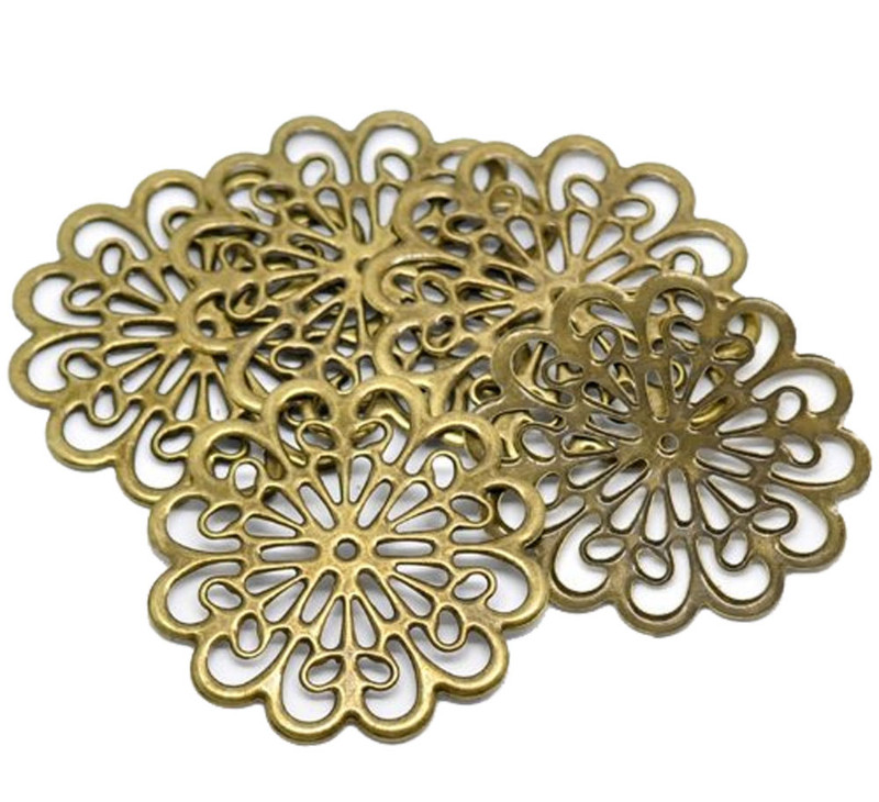 38 Antique Brass Filigree Flower Focal Components 60mm 2 3/4 Inch Findings RB18536