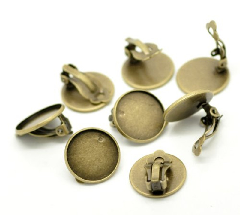 20 Antiqued Brass/gold Round Earring Ear Clip Cabochon Frame Setting 21x20 Fits 18mm 10 Pair RB17224