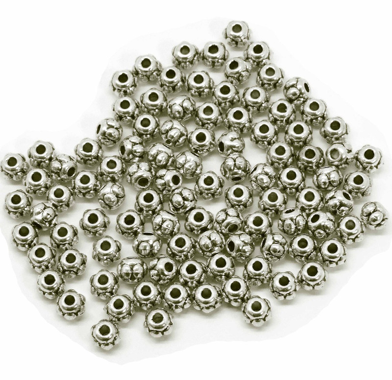 100 Antiqued Silver Plated Pewter Beads 5x4mm Rondelle Metal Spacers H20-1675BB