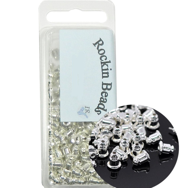 300 Silver Plated Zink Barrel Ear Ring Nuts with Rubber Inside Earring Back Stoppers 6x5mm, Sold Per Pack of 300