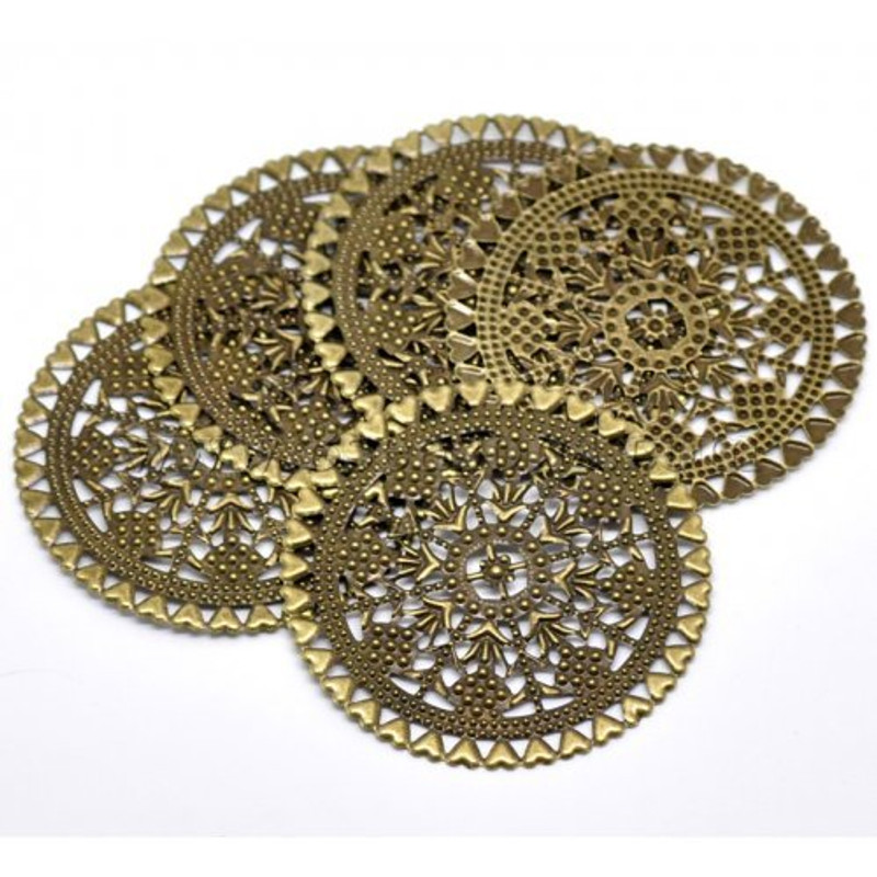 38 Antique Brass Filigree Flowers and Hearts Focal Components 60mm (2 3/4 Inch), Jewelry Wrapping Findings